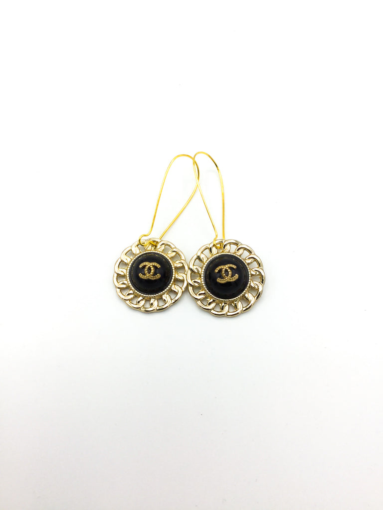 Glamorous Designer Button Dangle Earrings