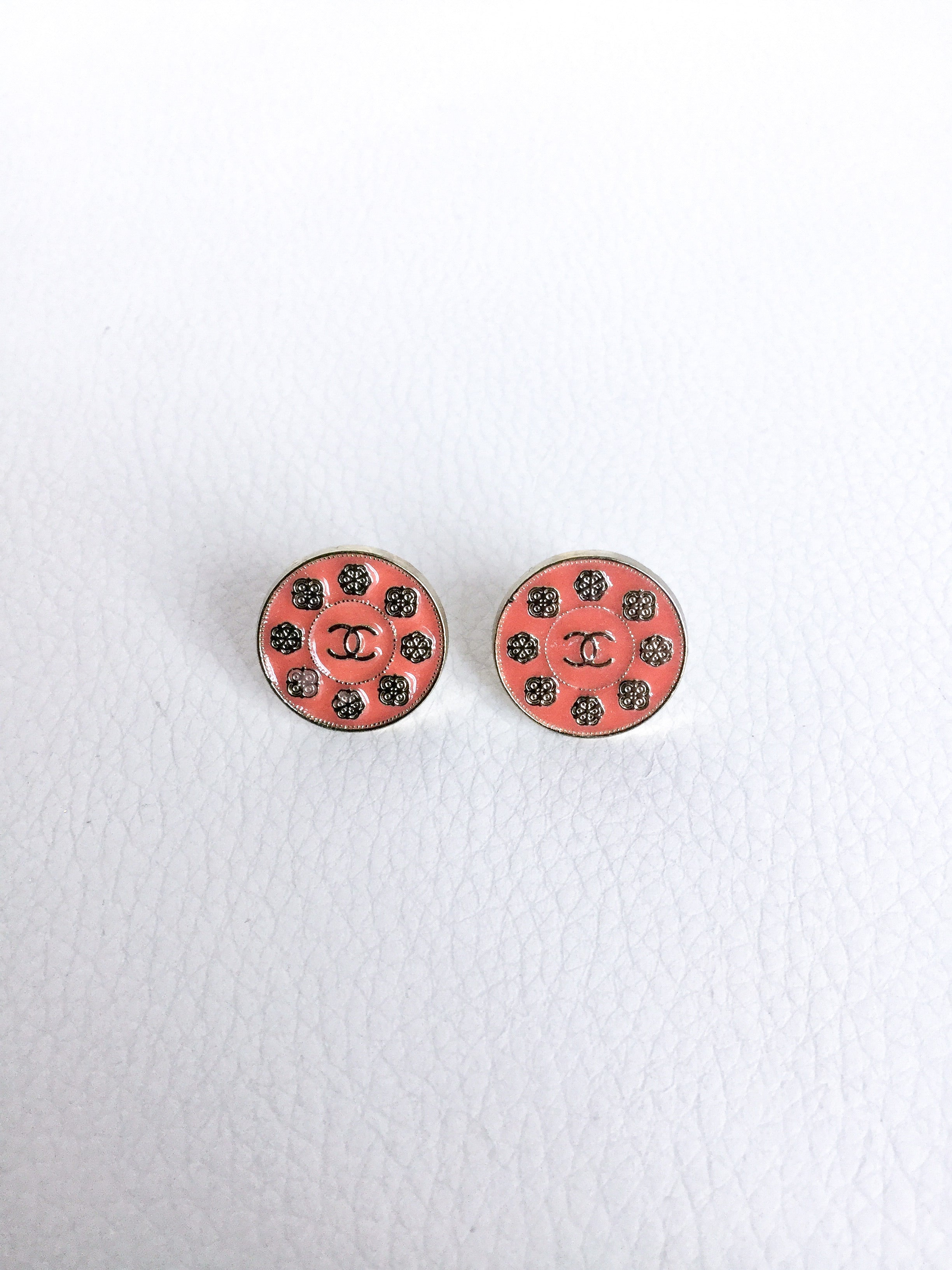 Peach and Gold Designer Button Flower Stud Earrings