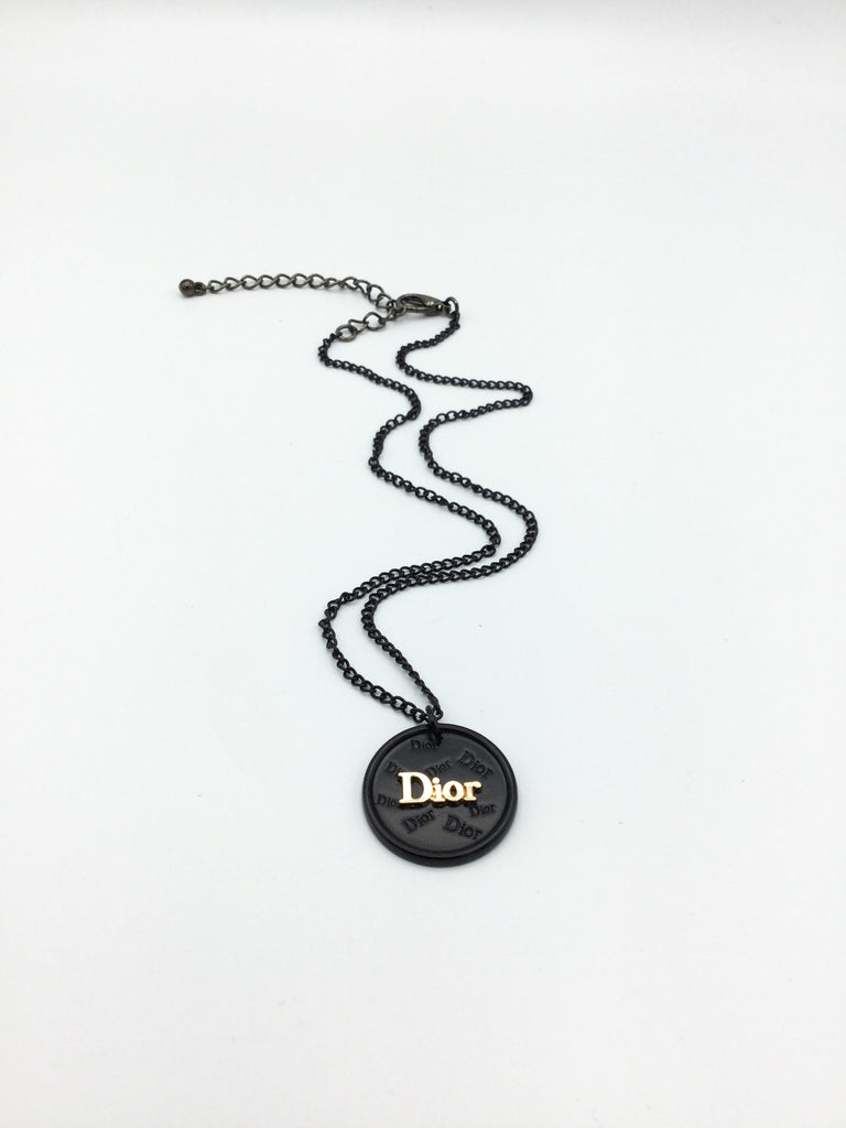 Dior Black and Gold Button Gunmetal Necklace