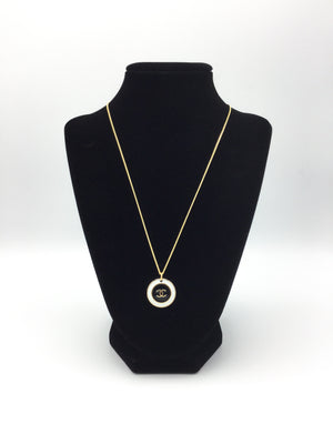 Designer Button Black and White Necklace with logo