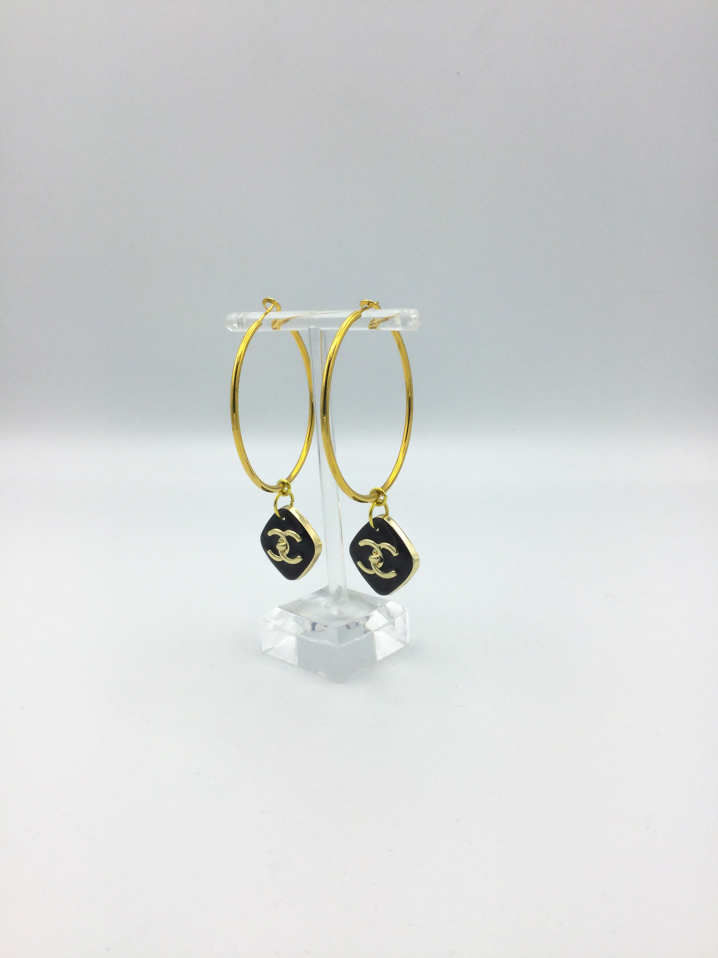 Designer Diamond-Shaped Button Hoop Earrings