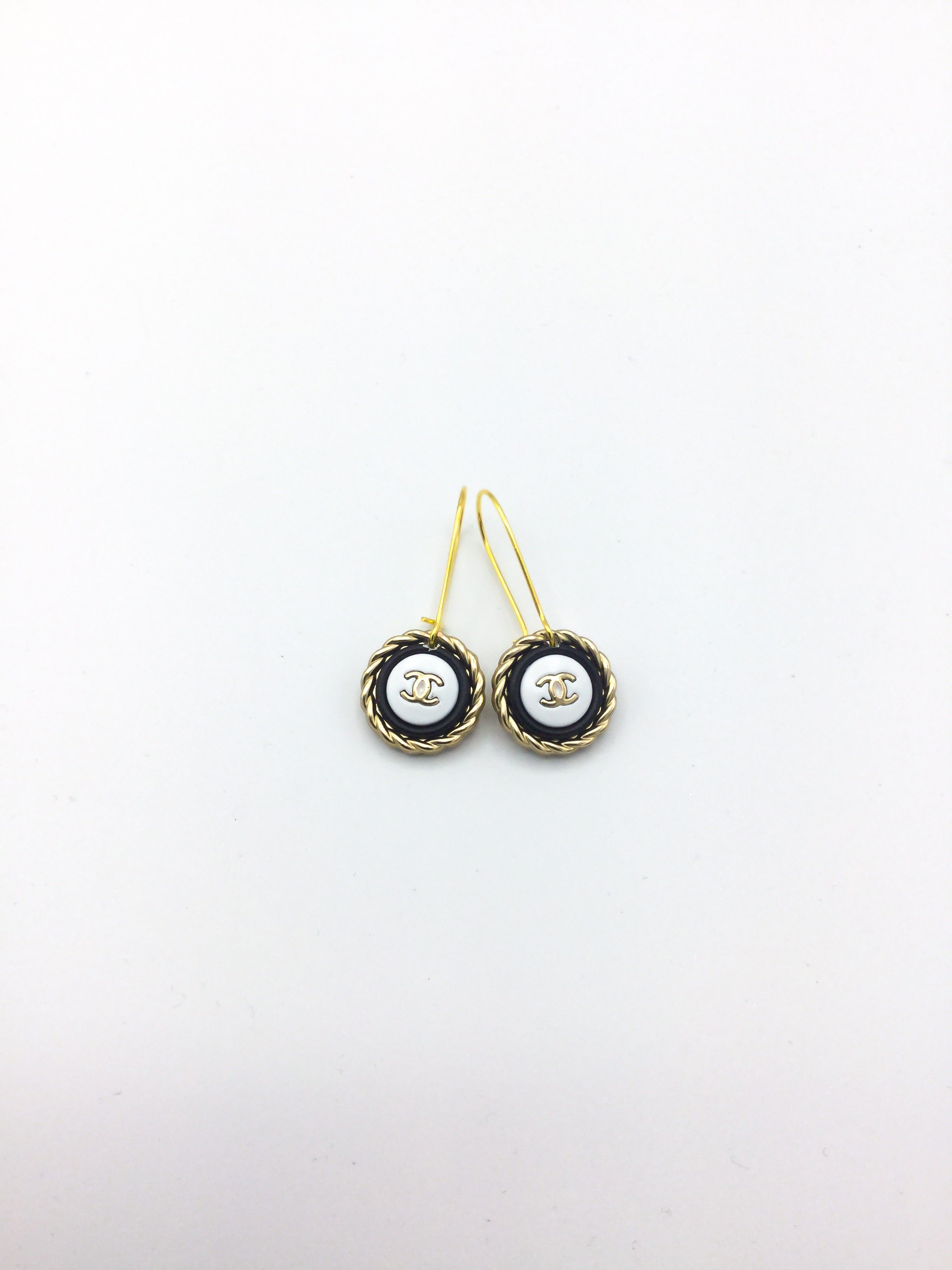 Designer Button Black and Gold Dangle Earrings