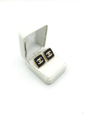 Square Gold and Black Designer Button Earrings