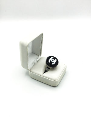 Black Designer Button StatementRing