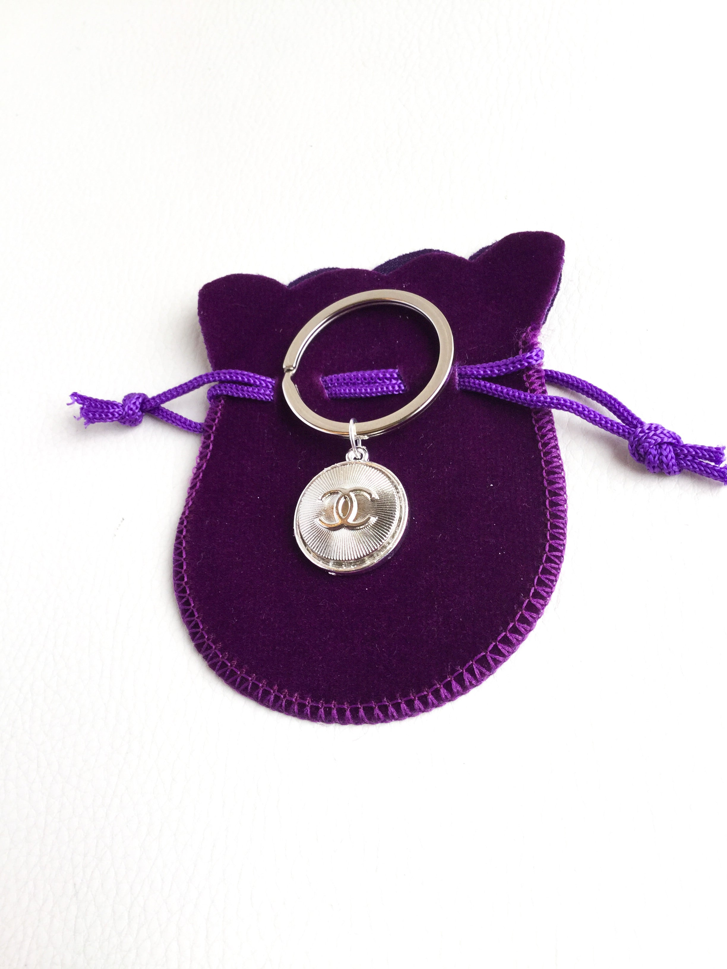 Designer Button Pet Collar Pendant - Silver