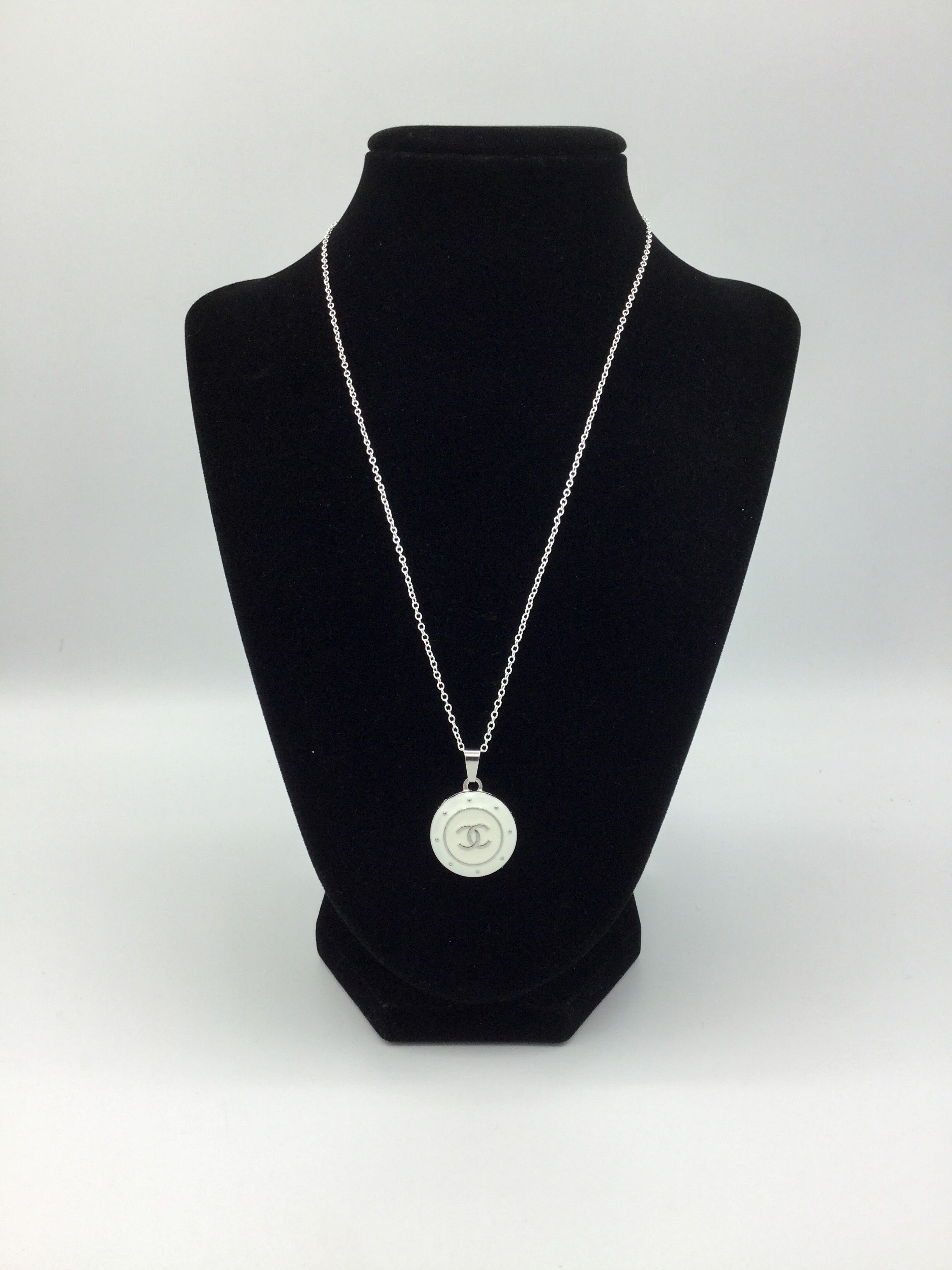 White and Silver Designer Button Necklace