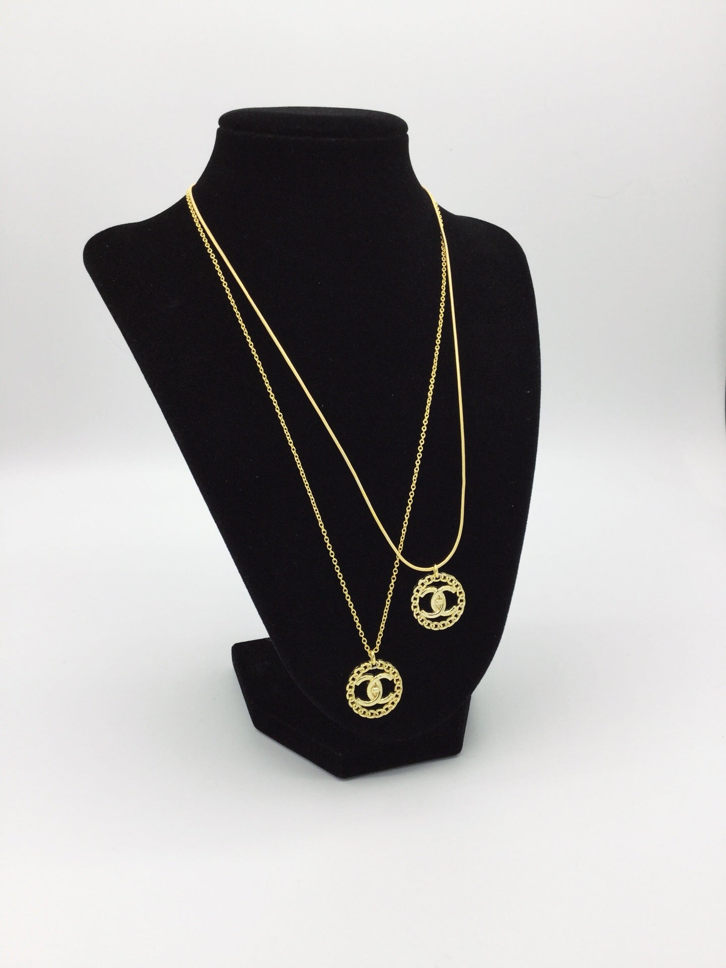 Gold Filled Designer Button Necklace on Rolo Chain