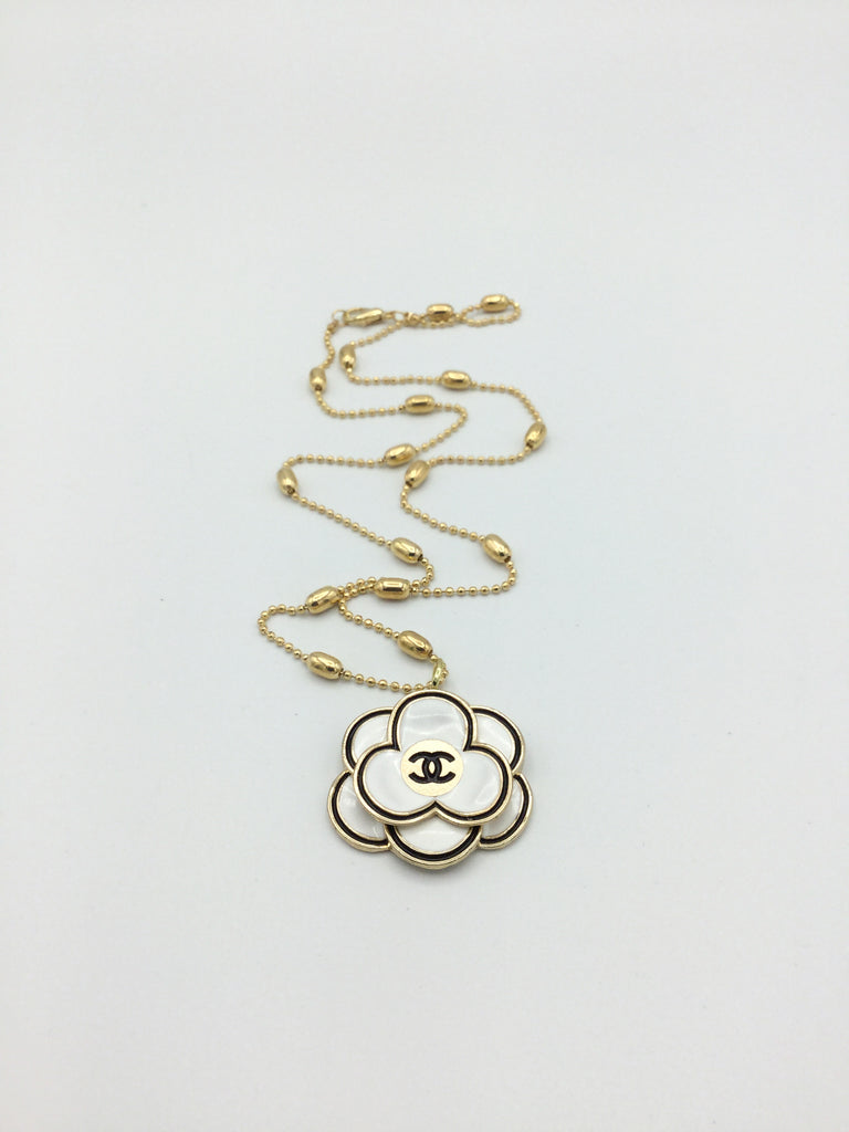 Designer Camellia Button Necklace - White