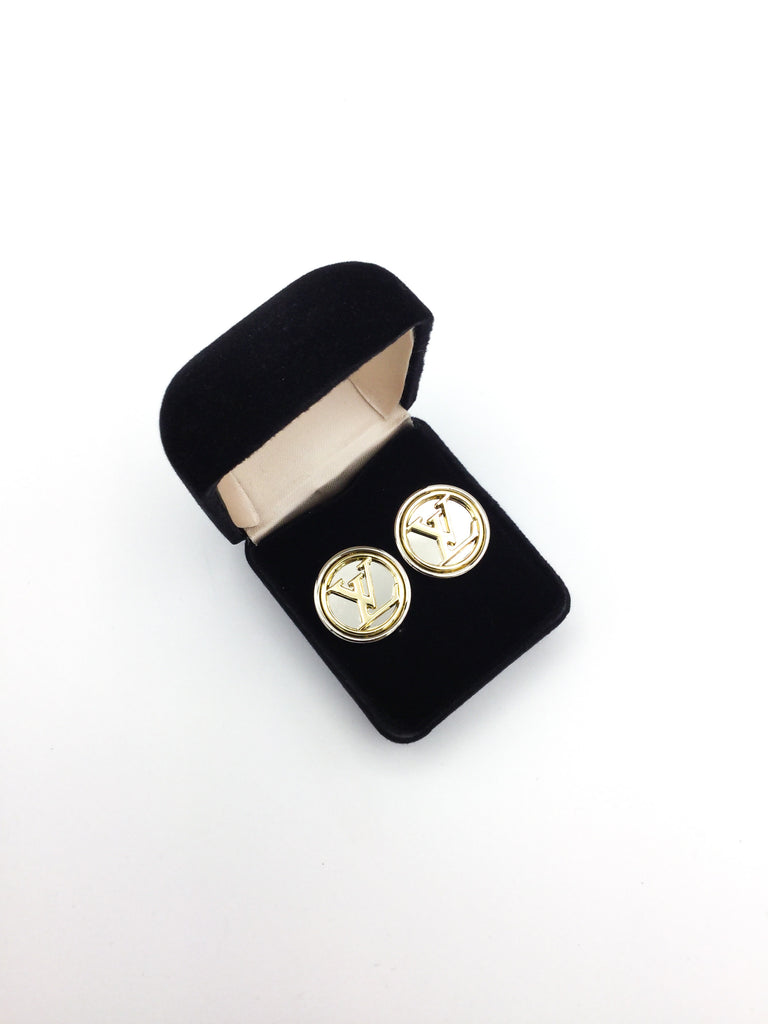 Gold & Silver Button Stud Earrings