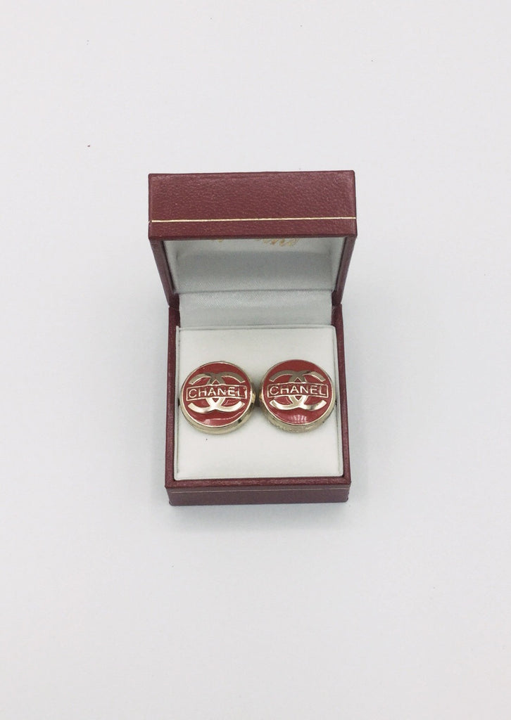 Red and Gold Designer Button Stud Earrings