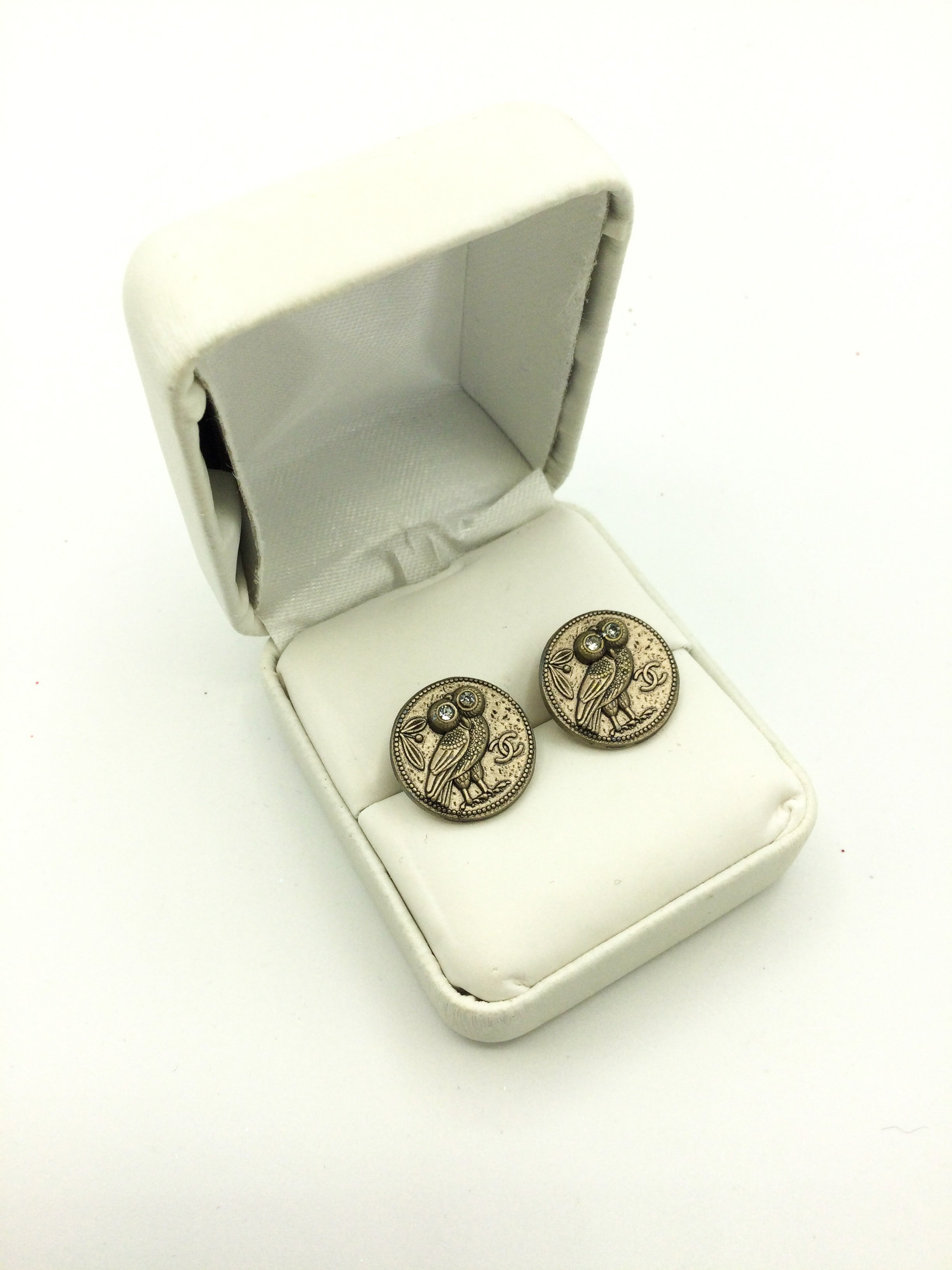 Owl Designer Button Stud Earrings