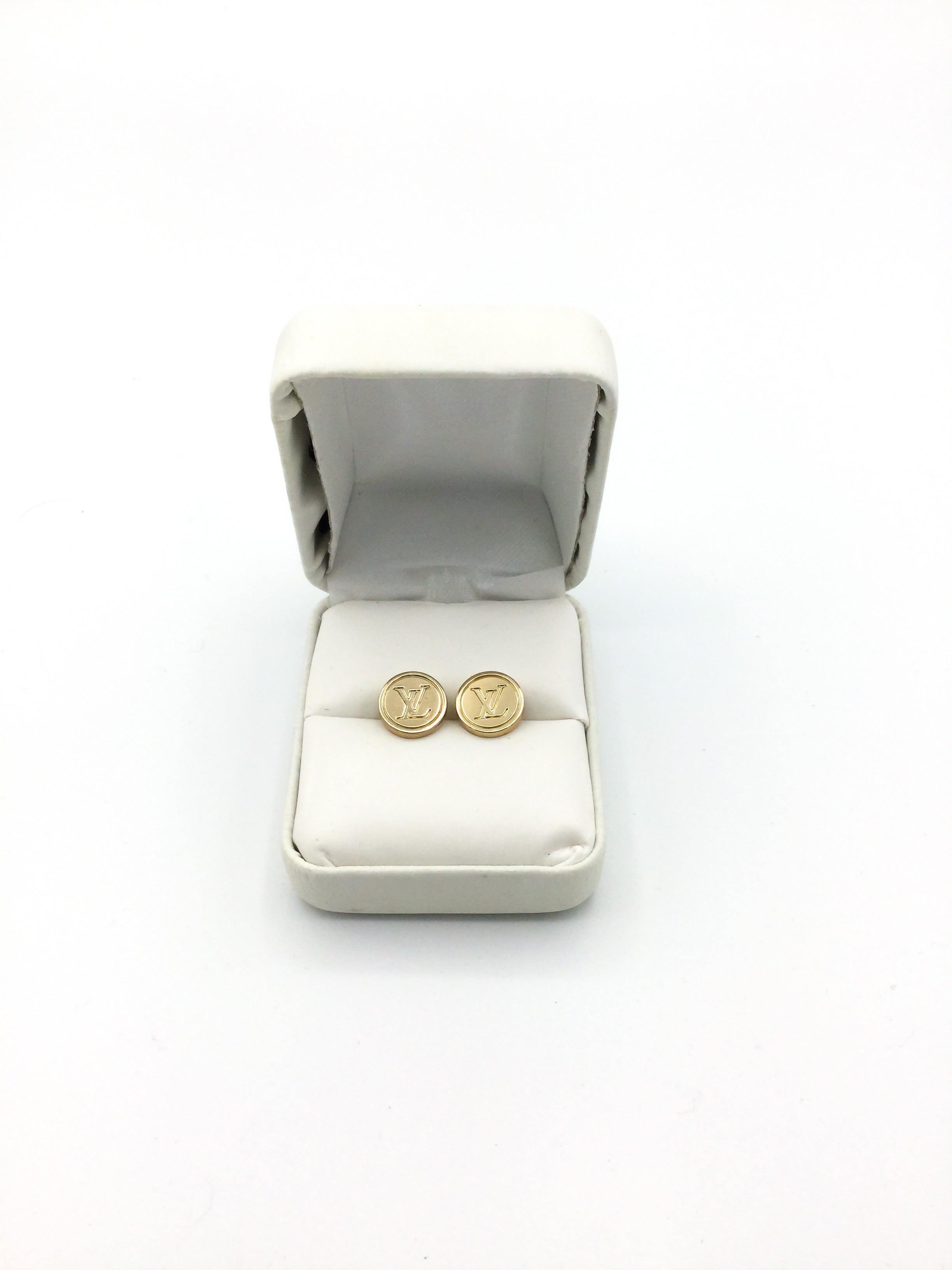 LV Gold Button Small Stud Earrings