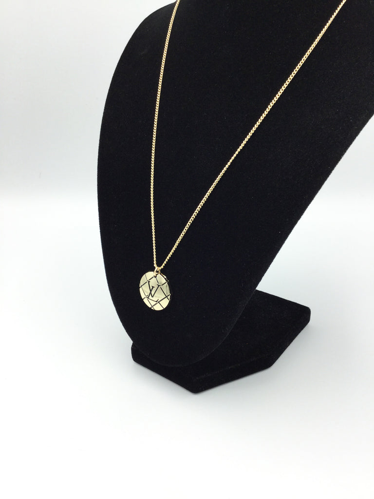 Gold LV Button Necklace by Designer Therapy