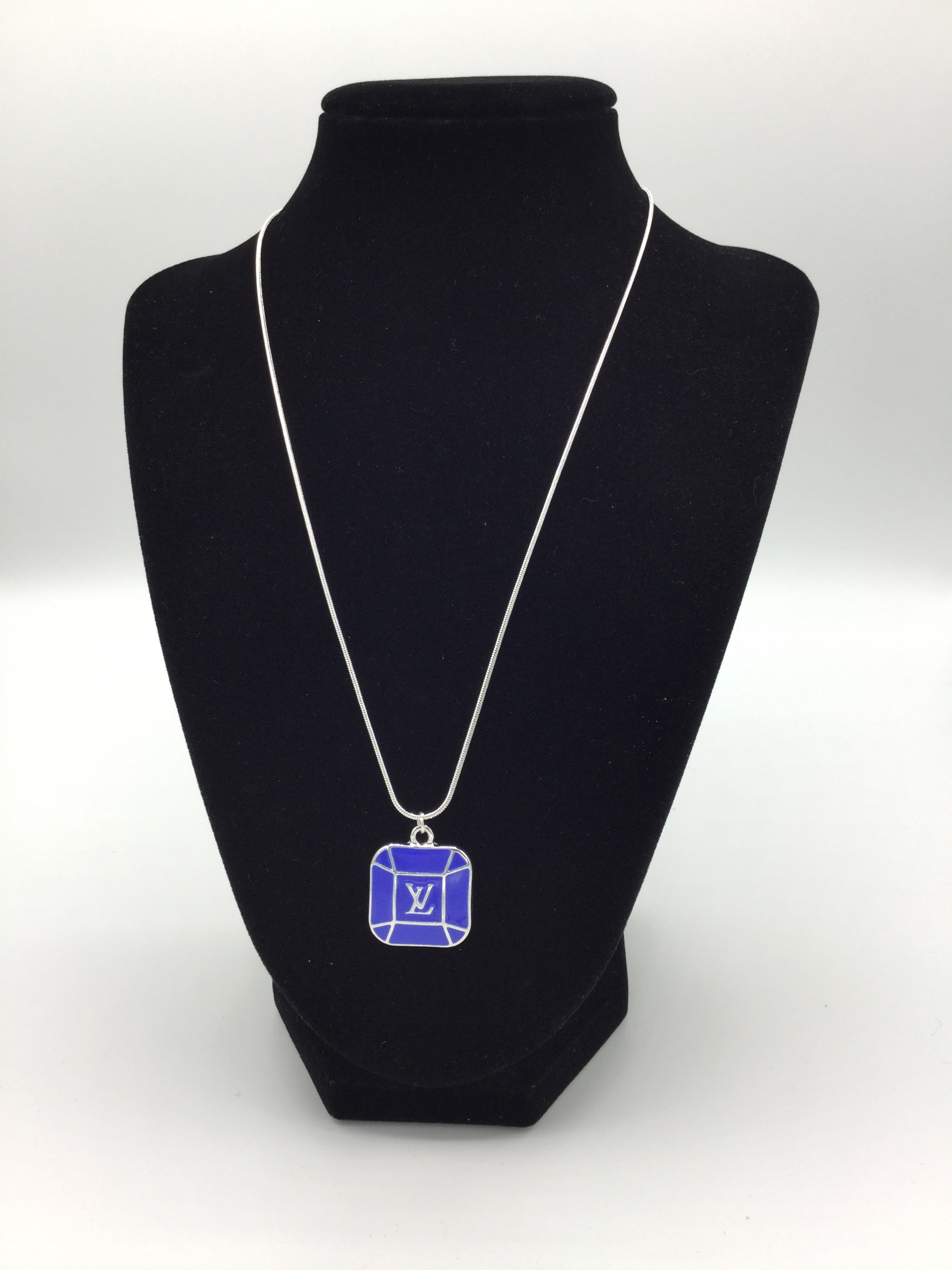 Dark Blue LV Square Charm Necklace