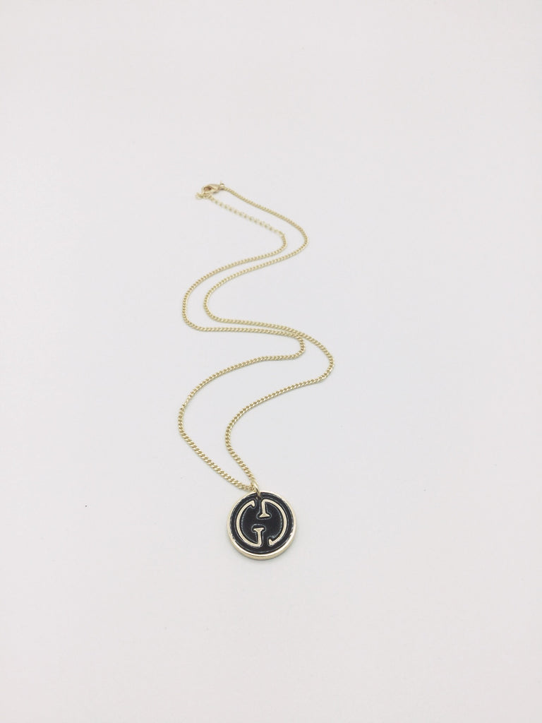 Gold Filled Gucci Button Black and Gold Necklace