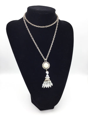 Glam Designer Button Rhinestone Tassel Necklace