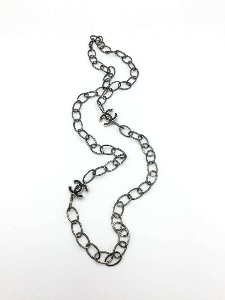 Gun Metal Designer Charm Statement Necklace
