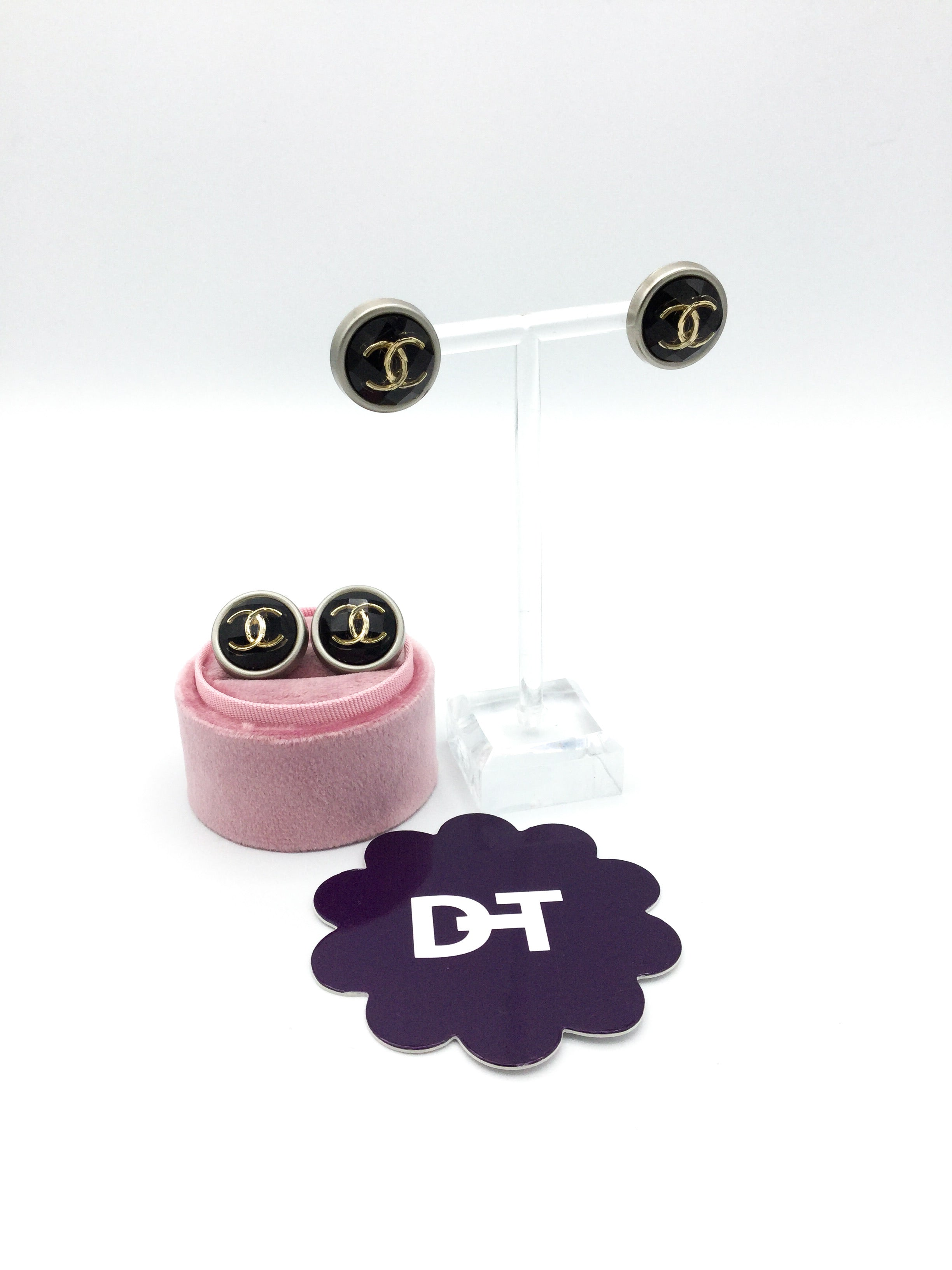 Designer Button Two-Toned Black, Silver & Gold Stud Earrings