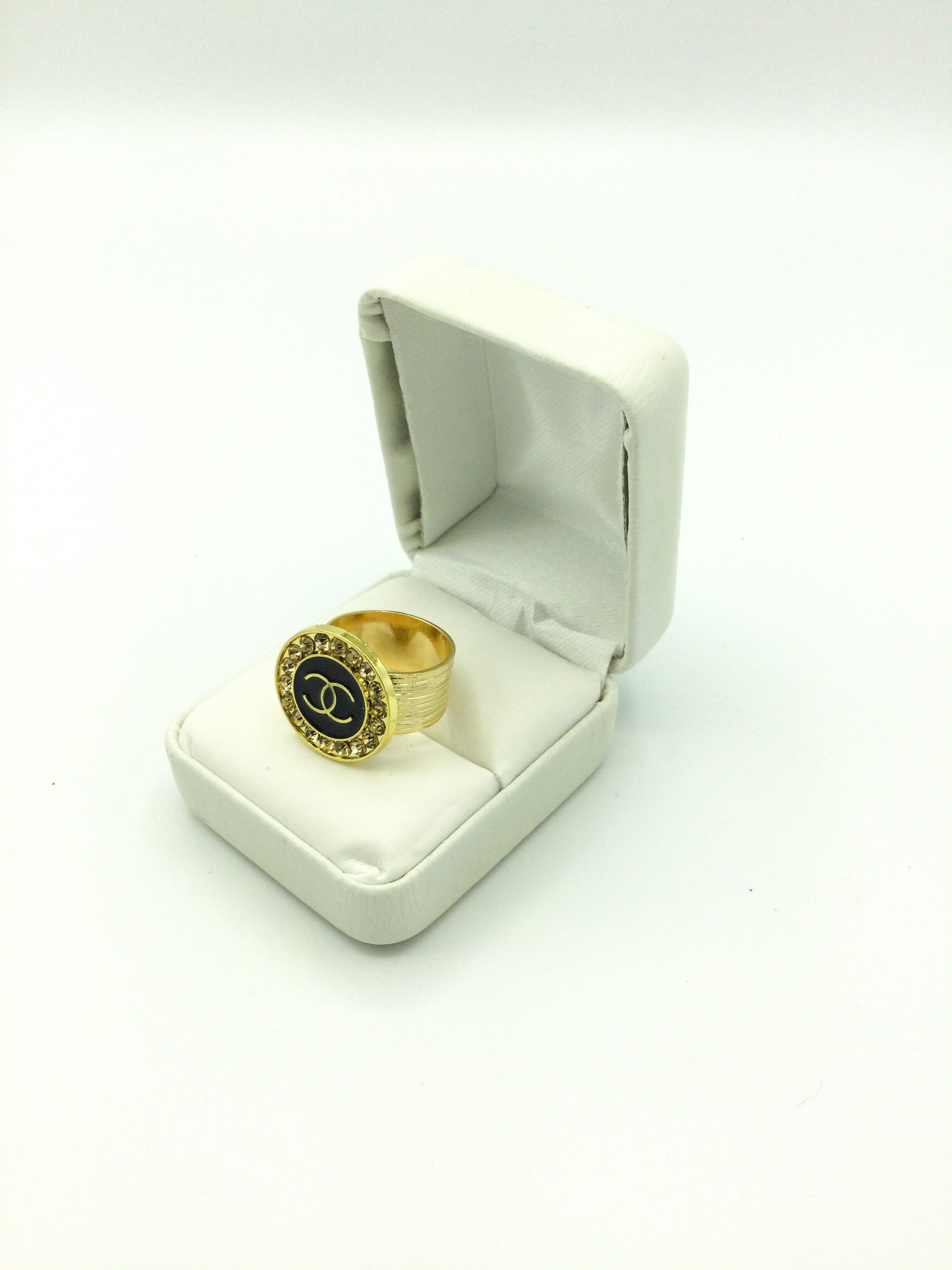 Designer Button Statement Ring - Rose Rhinestones