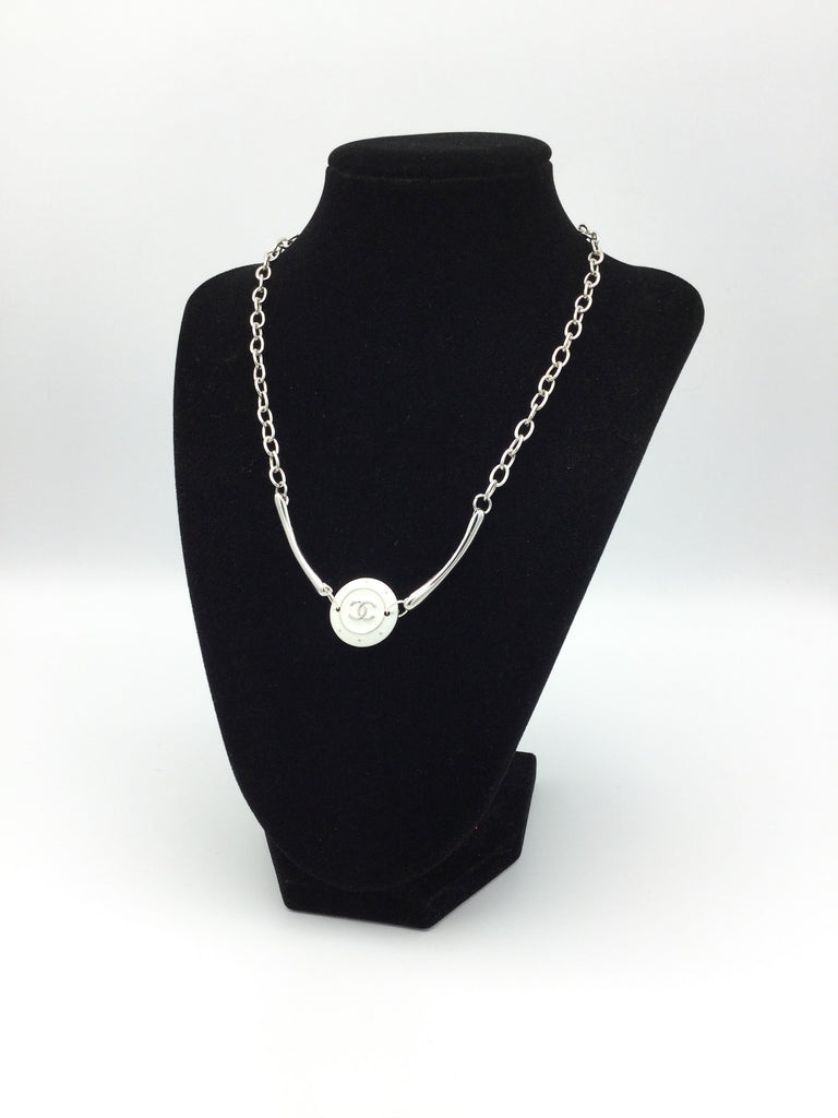 Silver and White Designer Button Necklace