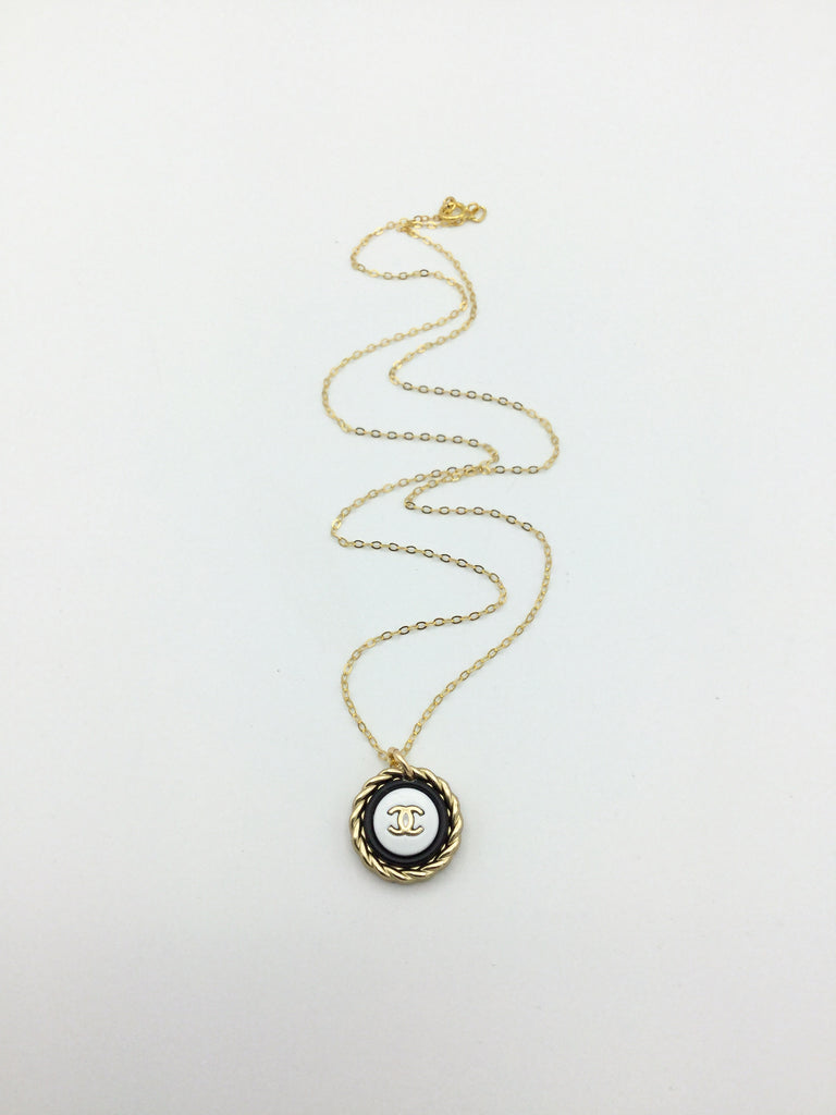 Designer Button Black and Gold Necklace with logo