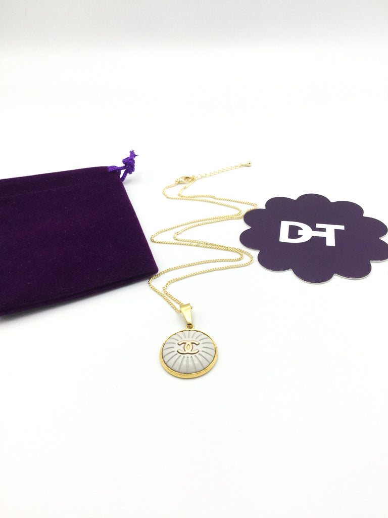 Designer Button White and Gold Necklace with logo