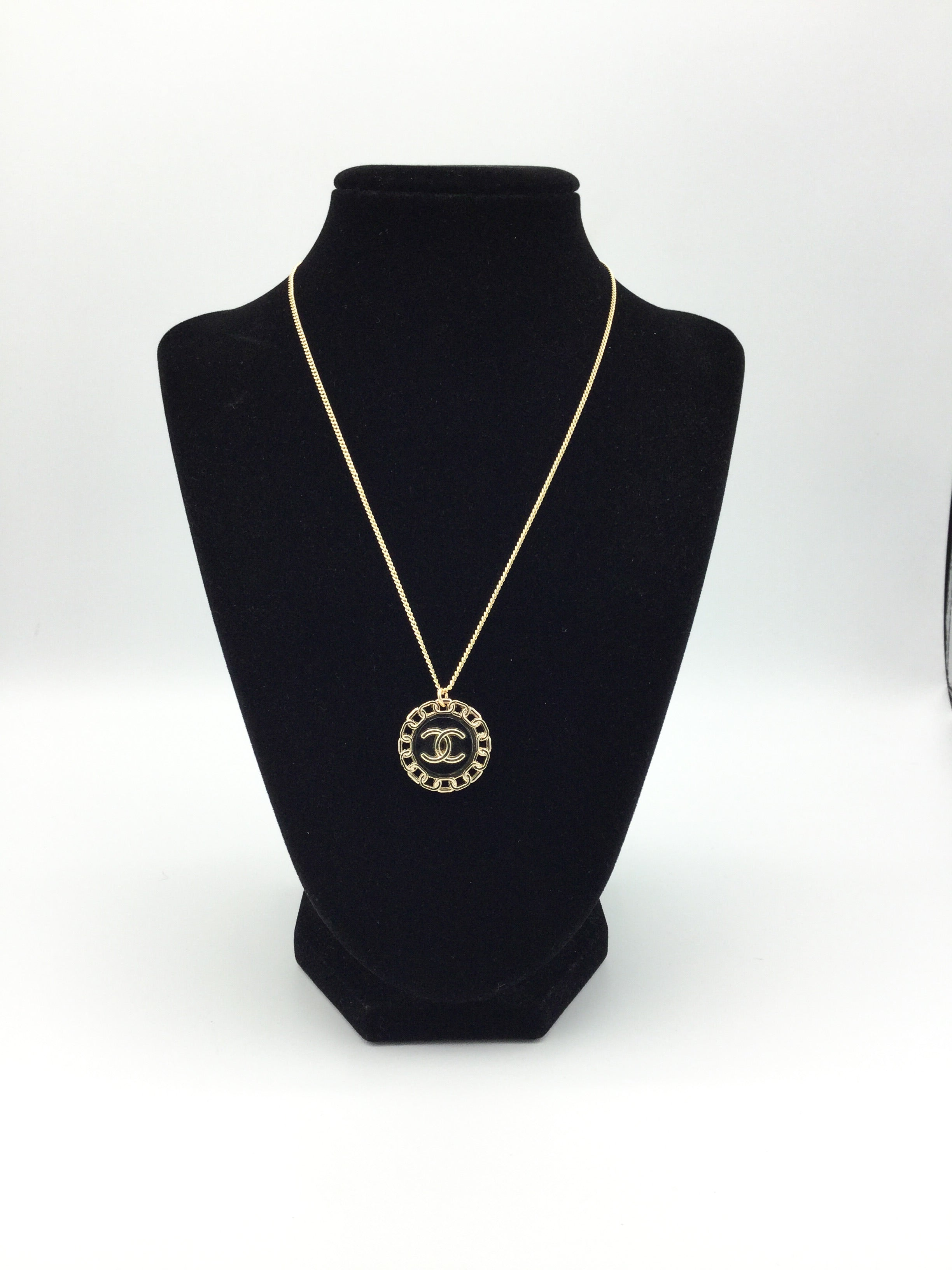 Designer Button Black & Gold Necklace with Logo