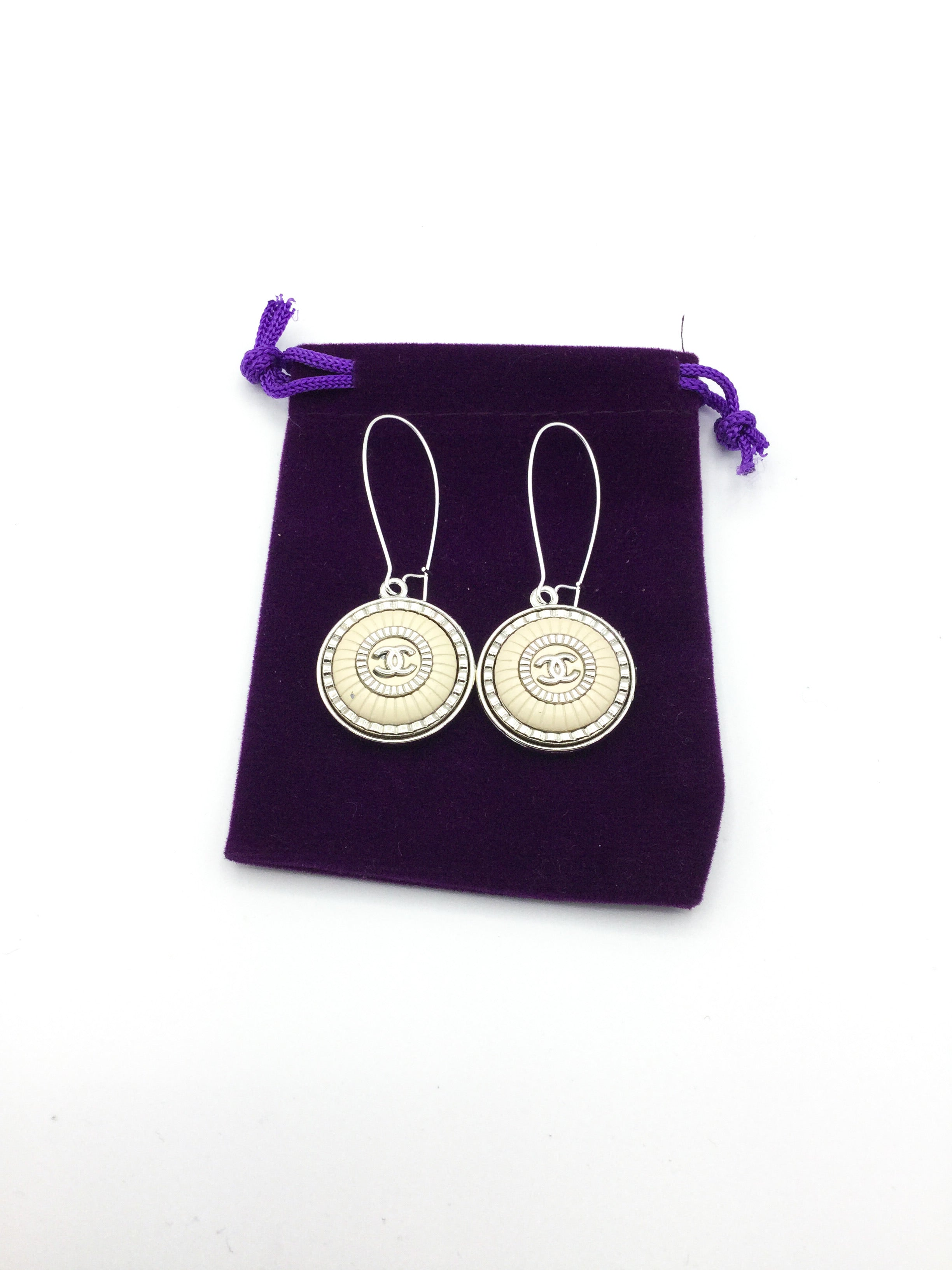 Silver & Cream Coloured Designer Button Dangle Earrings