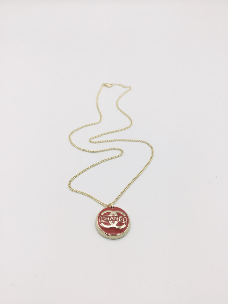 Red and Gold Designer Button Necklace