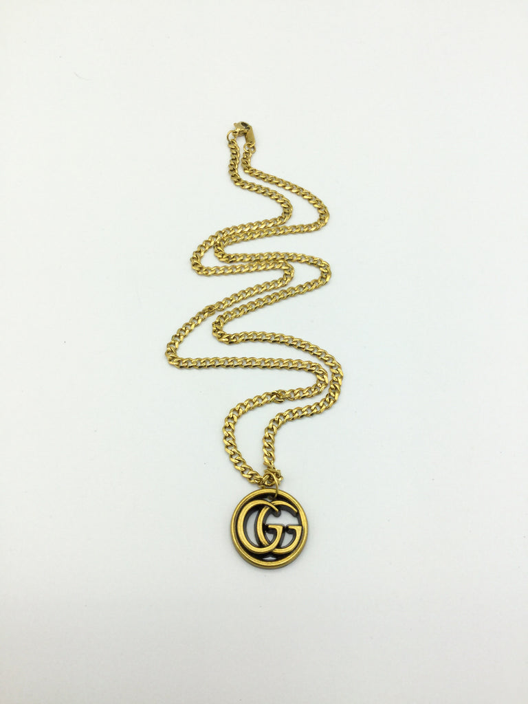 Cuban Chain Button Necklace by Designer Therapy