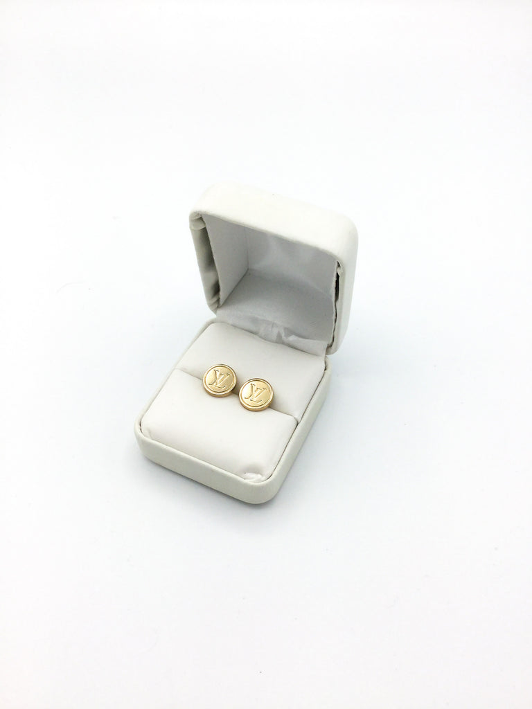 Gold Button Petite Stud Earrings