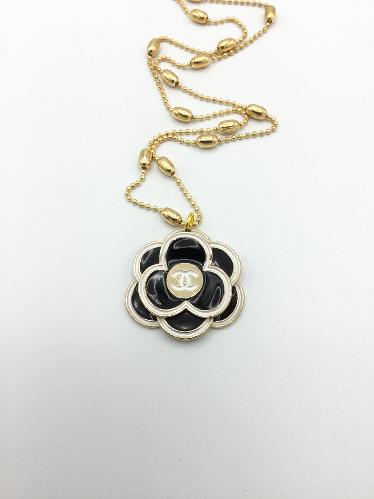 Designer Camellia Button Necklace - Black