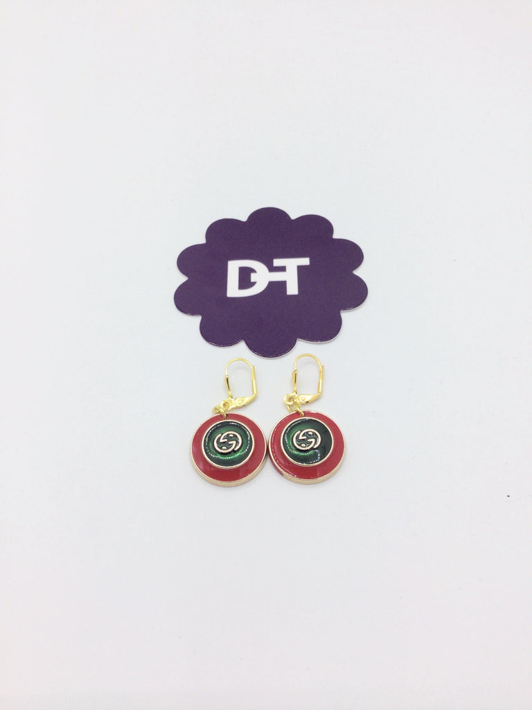 Signature Red & Green Button Dangle Earrings by Designer Therapy