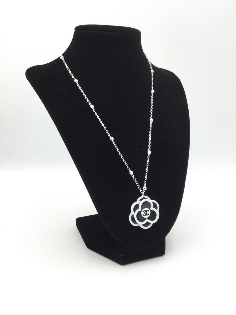 Designer Camellia Button Necklace - Black & White