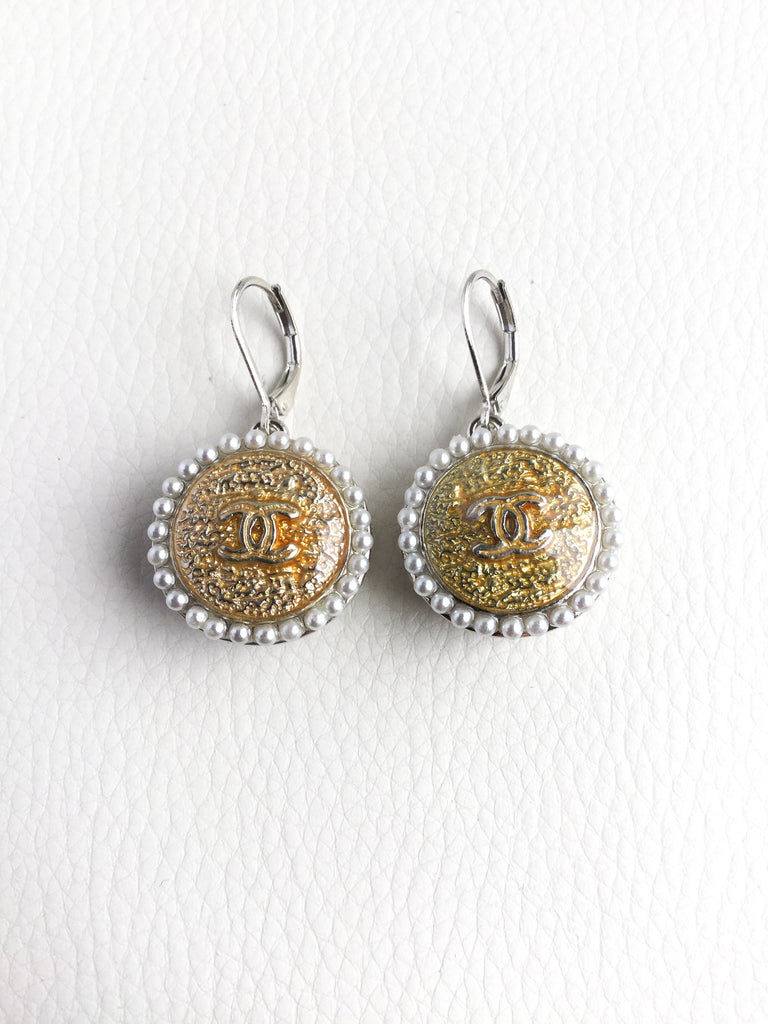Designer Button Earrings Silver with Faux Pearls