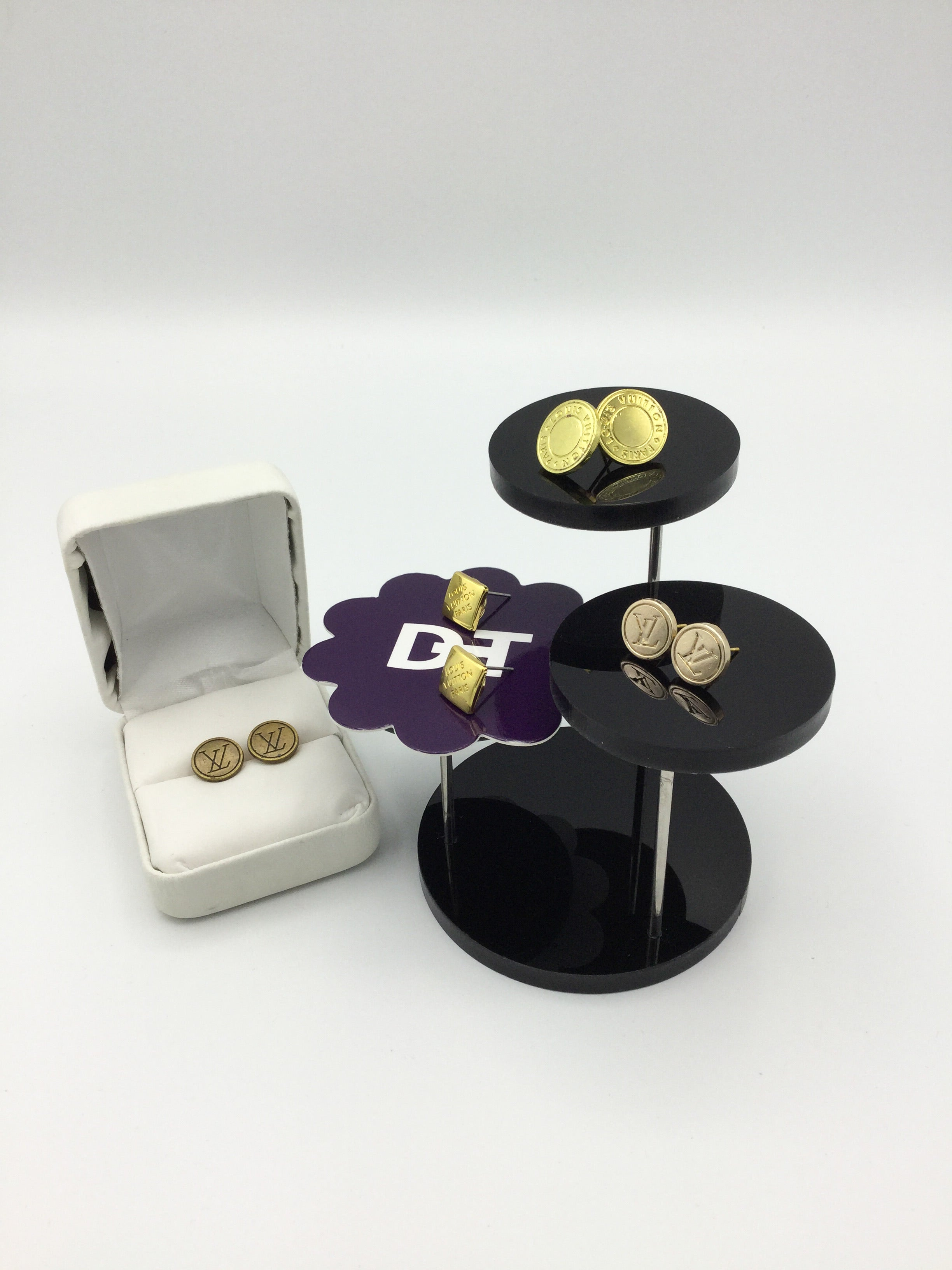 LV Gold Button Stud Earrings