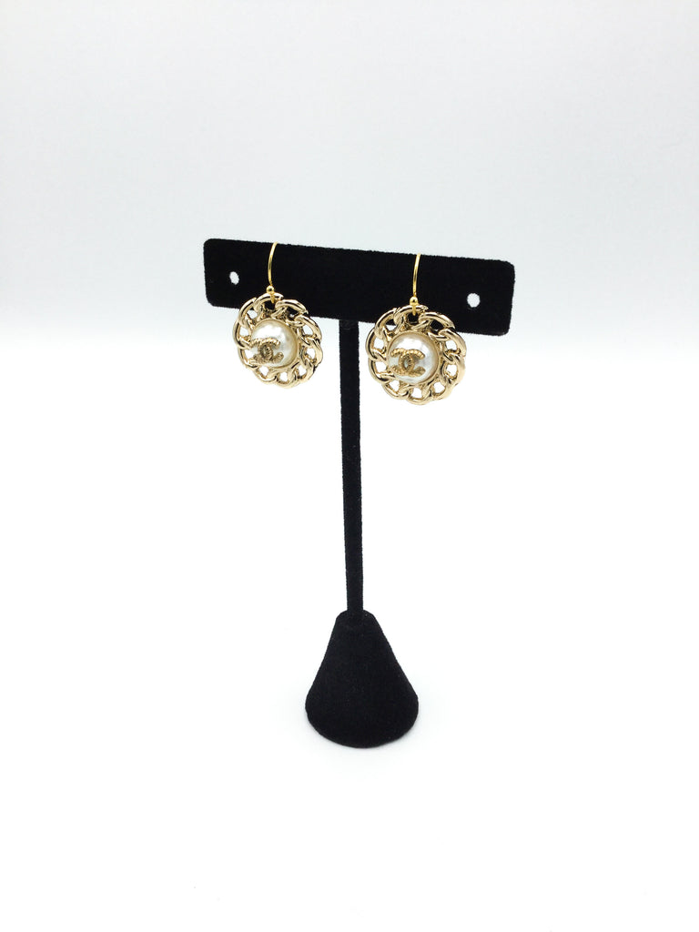 White and Gold Designer Button Dangle Earrings