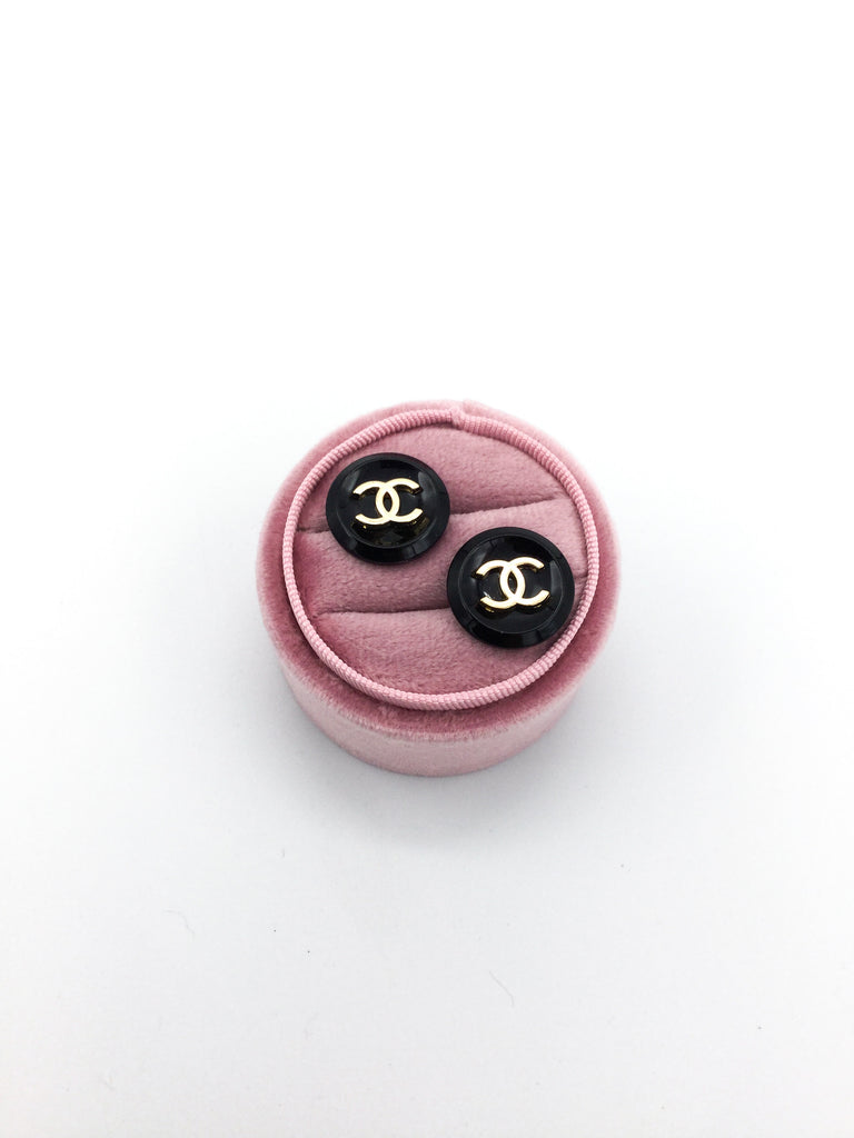 Designer Button Black and Gold Stud Earrings