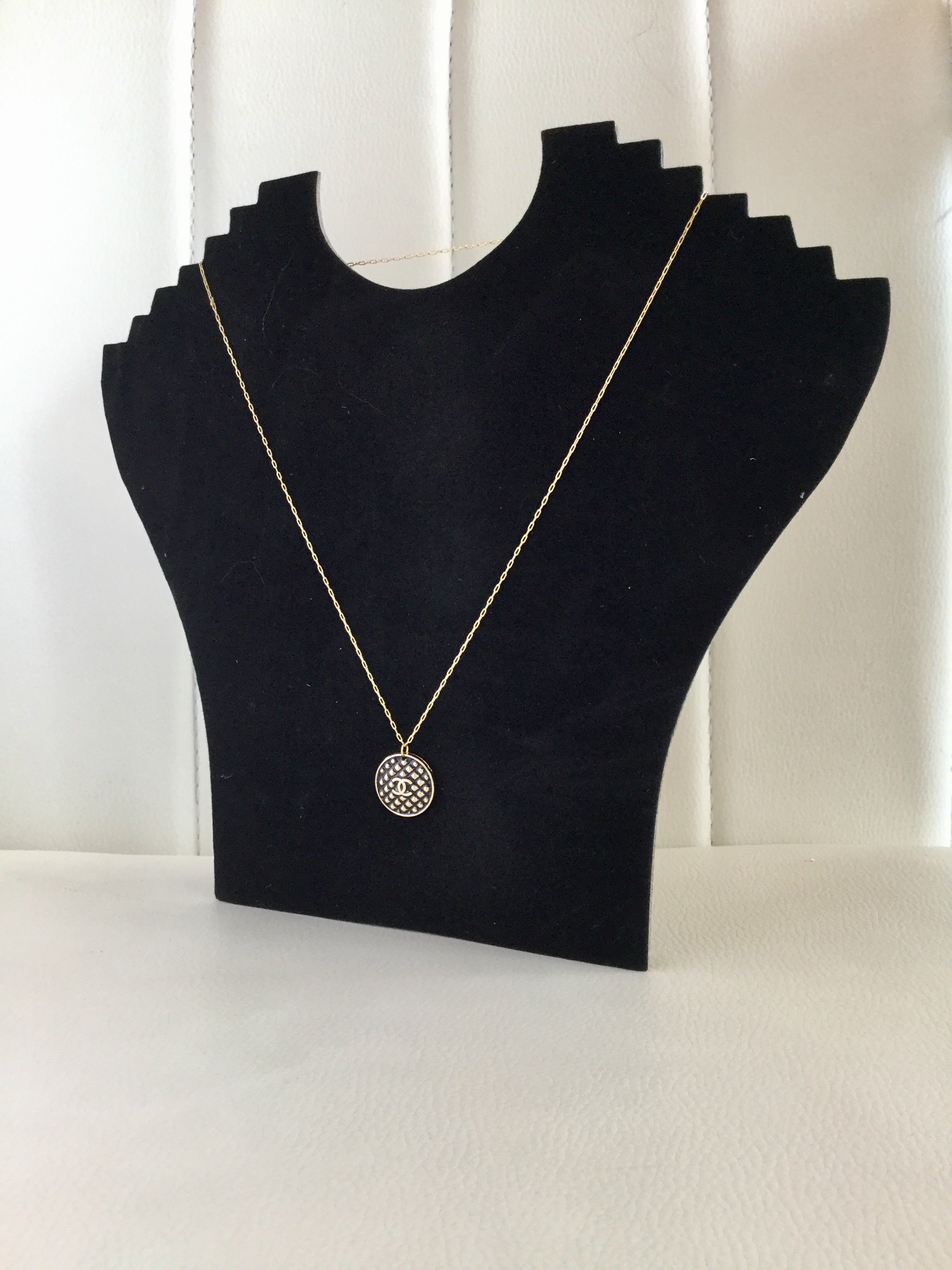 Designer Button Gold Necklace with logo