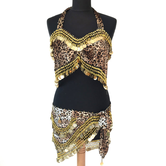 Costume Bellydance Leopard Betty Page - Set 2 pz