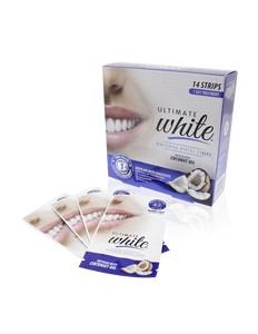 Ultimate White Whitening Dental Strips Infused With Coconut Oil 7 Day Treatment