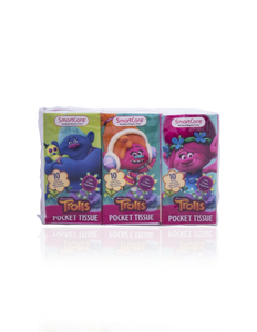 Smart Care Trolls Pocket Facial Tissues 6 Pack