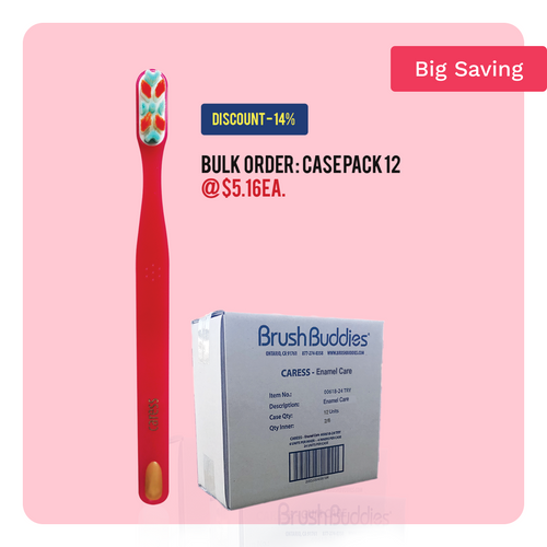 Brush Buddies Caress Enamel Care Toothbrush (12/24/48 Pack)