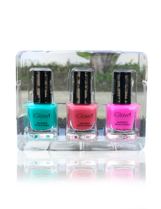 IGlow Nail Polish 3Pk (Shades - Sea Foam, Punch, Hot Pink)