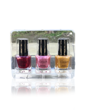 Load image into Gallery viewer, IGlow Nail Polish 3Pk (Sparkle Shades - Golden, Watermelon, Jam)