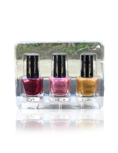 IGlow Nail Polish 3Pk (Sparkle Shades - Golden, Watermelon, Jam)