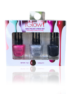 IGlow Nail Polish 3Pk (Sparkle Shades - Hot Pink, Silver, Royal Black)