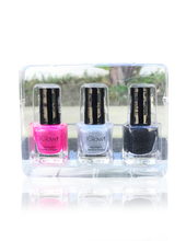 Load image into Gallery viewer, IGlow Nail Polish 3Pk (Sparkle Shades - Hot Pink, Silver, Royal Black)