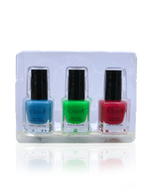 Load image into Gallery viewer, IGlow Nail Polish 3Pk (Shades - Blue, Green, Rose Red)