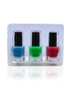 IGlow Nail Polish 3Pk (Shades - Blue, Green, Rose Red)